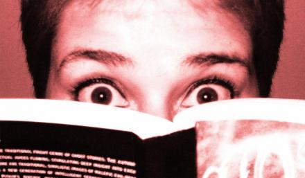 Reading a scary book